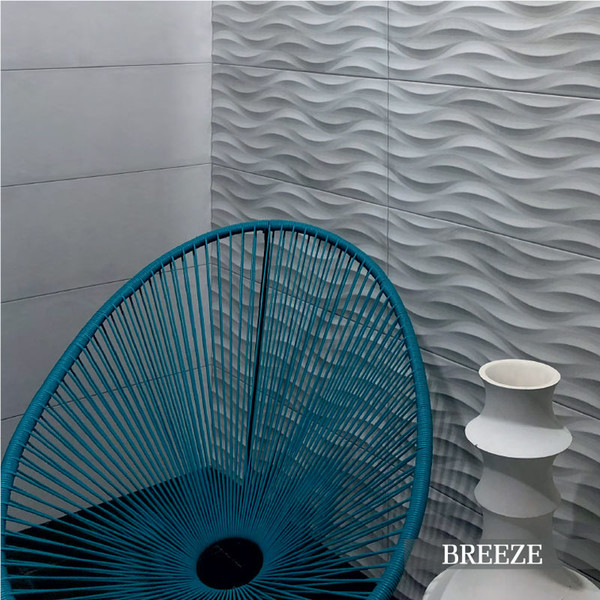 "Summer BREEZE GREY DECO 11.7""x39.2"" Ceramic Wall Tile"
