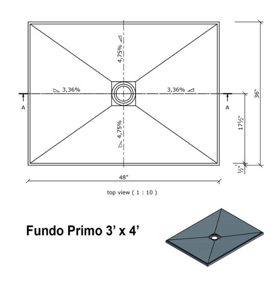 """Wedi Fundo Primo Shower Bases with Drain Assembly 36""""x48"""""""