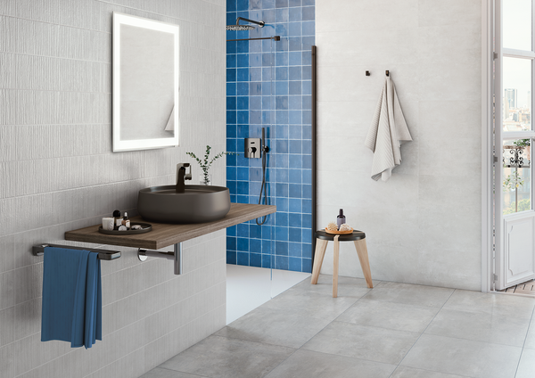"Mediterranea Azul Gloss 5""x5"" Ceramic Wall Tile on Shower Wall"