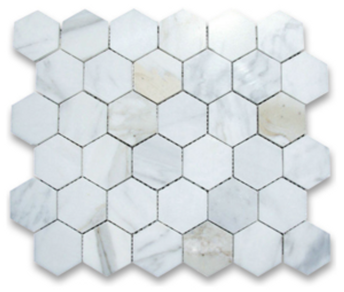 "Calacatta Honed 2"" Hexagon Mosaic on 12""x12"" Mesh"