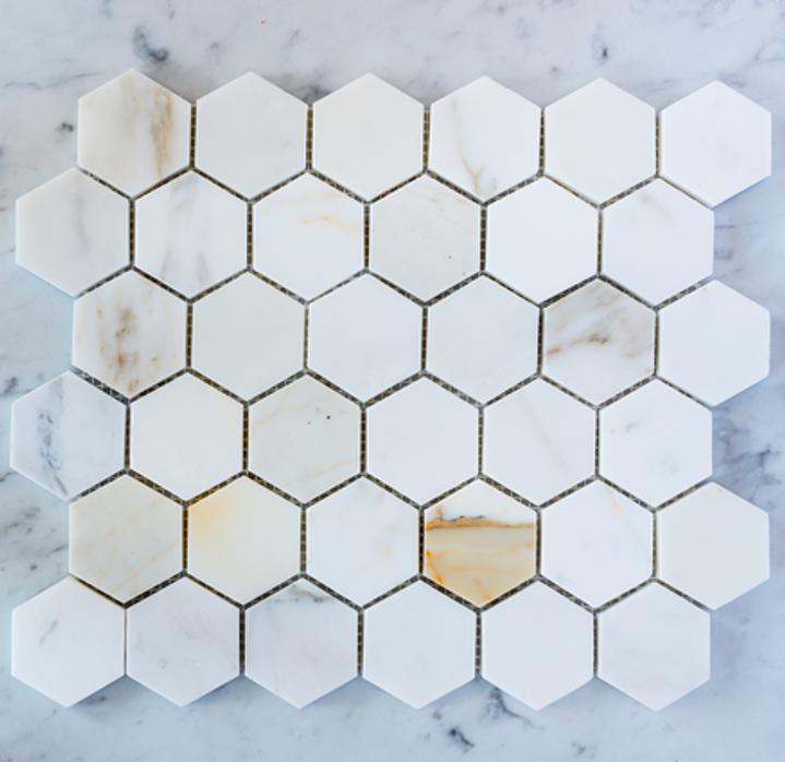 "Calacatta Gold 2""  Hexagon Mosaic Tile on 12""x12"" Mesh"