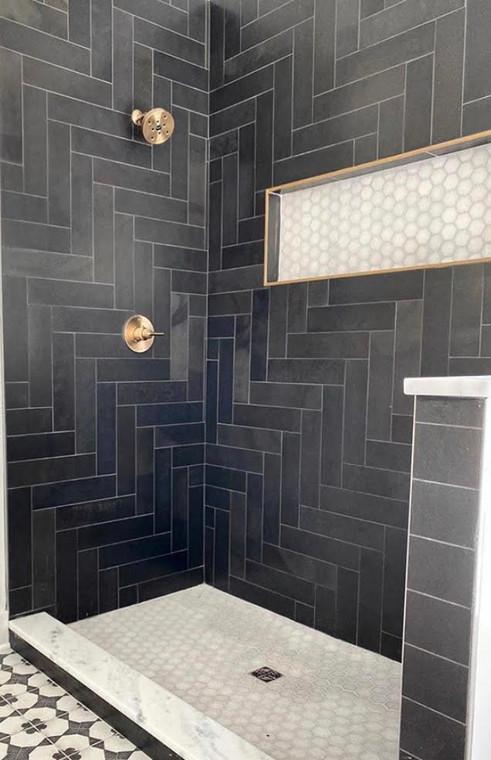 Brazillian Black 4x12 Slate Tiles on Shower Wall