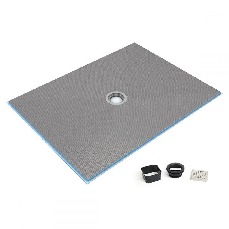 """Wedi Fundo Ligno Curbless Shower Pan (Base) with Center Drain - 48"""" x 48"""" x 3/4"""""""