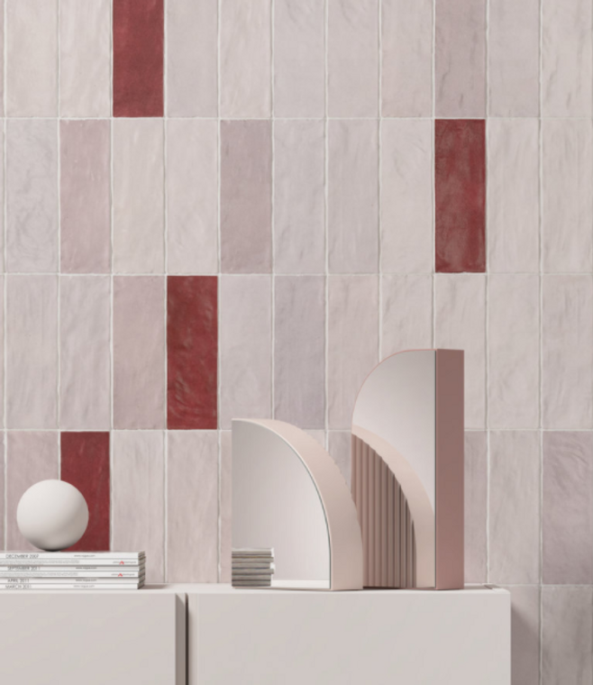 Trinity Pink & Red Matte 2.6x7.9 Ceramic Wall Tiles
