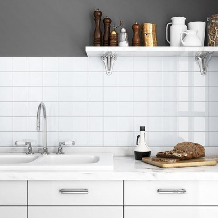 Color Collection Ice White Gloss 4x4 Ceramic Wall Tiles
