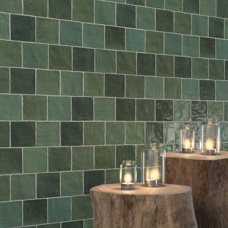 """Trinity Green Gloss 4""""x4"""" Ceramic Wall Tiles"""