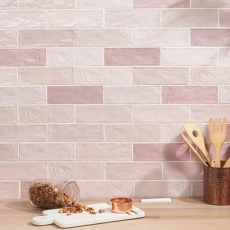 "Trinity Pink Gloss 2.6""x7.9"" Ceramic Wall Tiles"