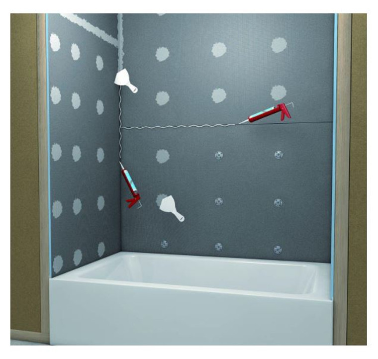 Wedi Tub Surround Kit offers simple installation solutions for your tub and shower surround. All the material for your shower project is available in easy to install kit, conveniently packaged by wedi. The wedi Tub Surround Kit allows your tub and shower walls to be installed and ready to tile in two hours or less.      100% waterproof backer board, protecting your framework against mold and mildew     Lightweight, easy to cut     Unique wedi attachment method to tub flange allows for safe waterproofing connect to tub     Wedi building panels do not scratch tub surfaces     Each kit contains: five 3 ft. x 5 ft. x 1/2 in. wedi building panels, five10.5 oz. wedi joint sealant, 1 box of tabbed washers and non-rust screws, one wedi mixing valve and one flexi collar for pipe protrusions.     For use as a tile underlayment