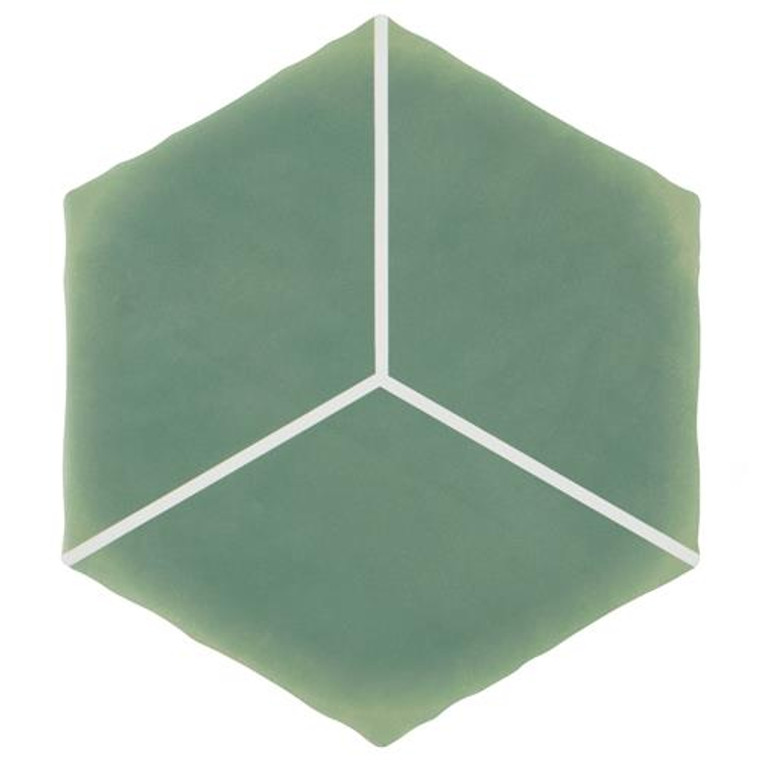 """Alberta Tile Collection CUBE Hex Green 6"""" x 7"""" Porcelain Floor Wall Tile"""
