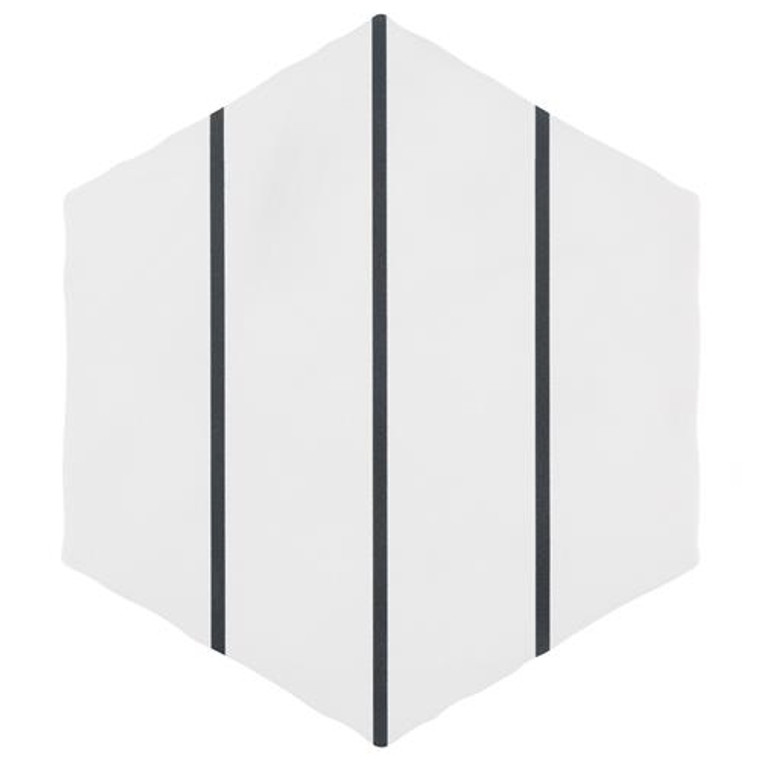 """Alberta Tile Collection LINES Hex WHITE 6"""" x 7"""" Porcelain Floor Wall Tile"""