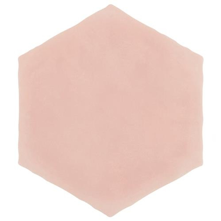 """Alberta Tile Collection PINK Solid Hex 6"""" x 7"""" Porcelain Floor Wall Tile"""