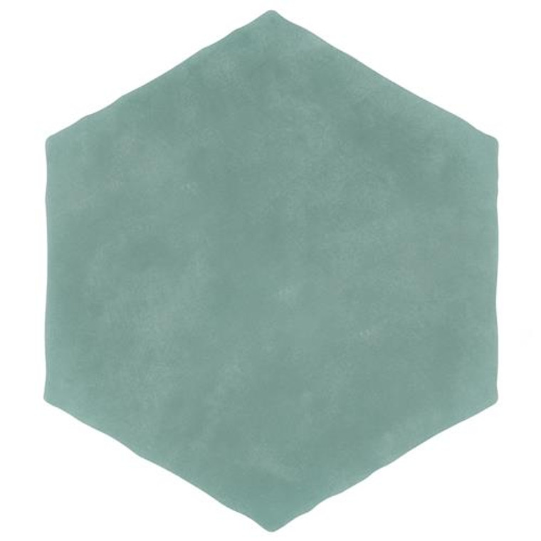 """Alberta Tile Collection TURQUOISE Solid Hex 6"""" x 7"""" Porcelain Floor Wall Tile"""
