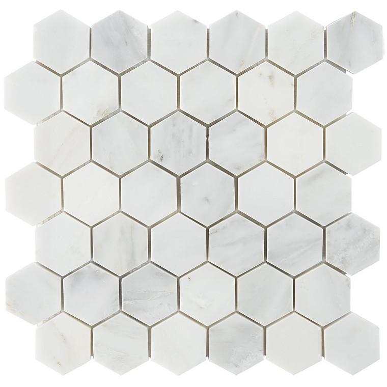 """Ocean White Honed 2"""" Hexagon Marble Tile Mosaics"""