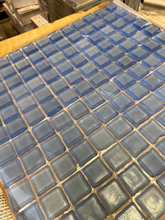 "Ice Blue Glass Mosaics 13""x13"" Mesh $9.99 Sq. Ft. While Supplies Last"