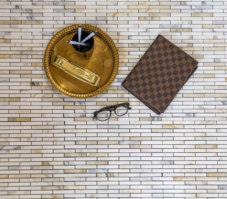 Calacatta Gold Honed 5/8x3 Brick Mosaic