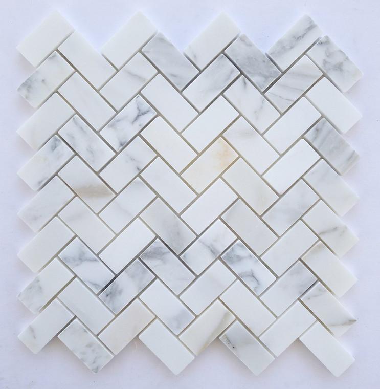"""Calacatta Gold Honed Herringbone Mosaic 12""""x12"""" Mesh"""