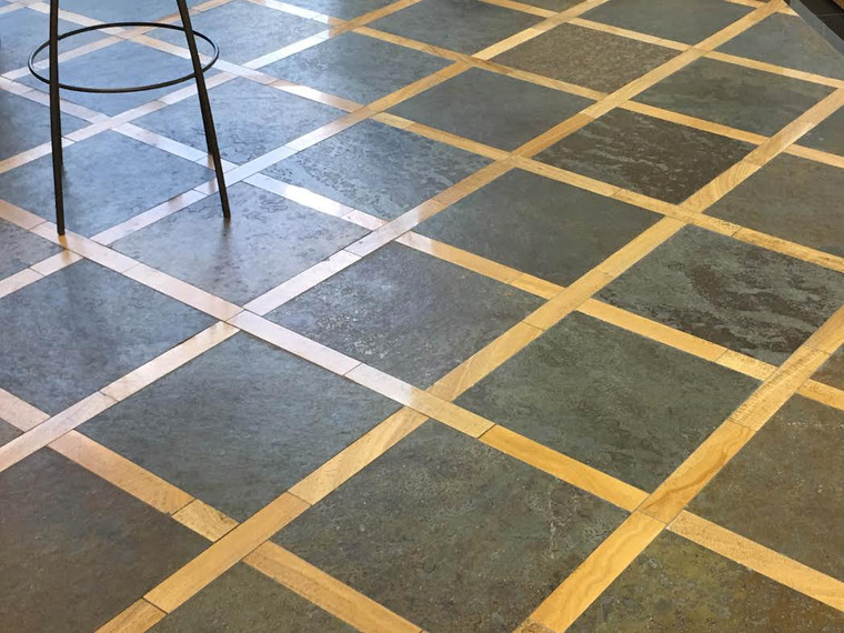 Brazilian Multi Color 16x16, Woodstone 2x12 Marble Strips