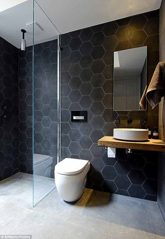 """Black Fox Porcelain 8"""" Hexagon Matte Tile on Wall $19.99 Sq. Ft. Suggested Retail"""