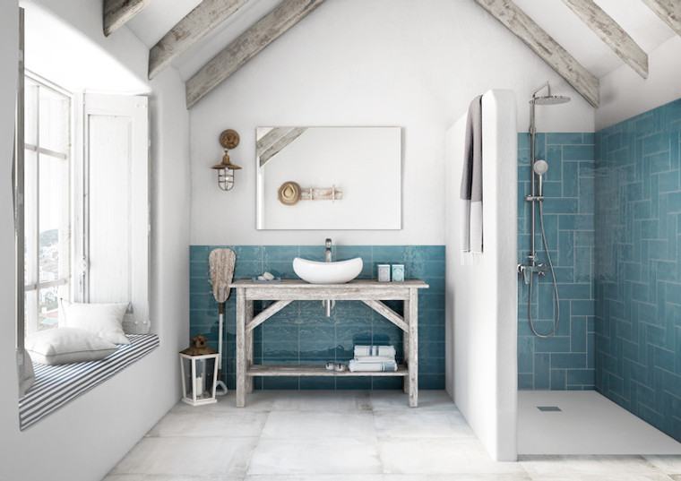 Manzanita Blue Steel Gloss 4x10 Shower Wall