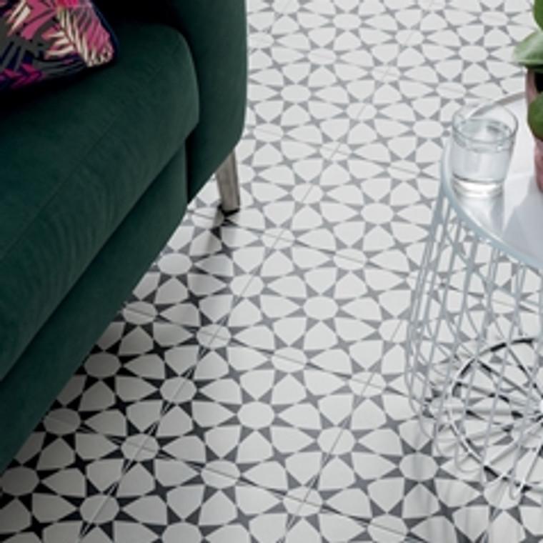 "Cuban Collection White Star 9""x9"" Floor Tiles"