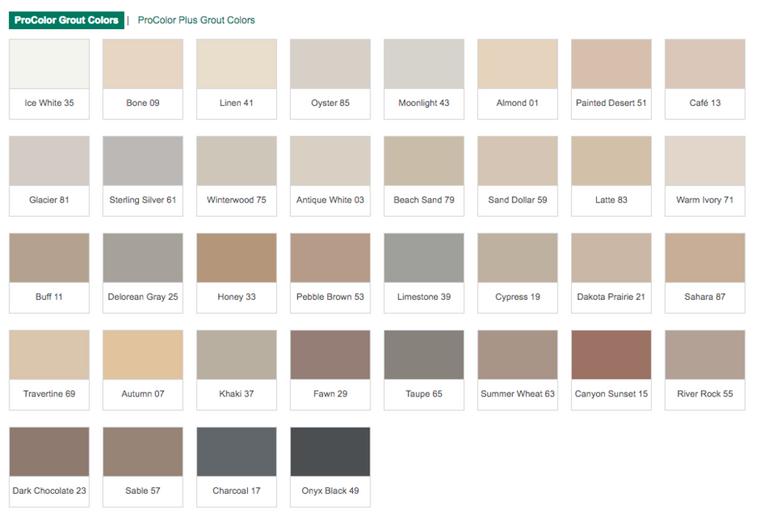 Prospec Bonsal Grout Colors