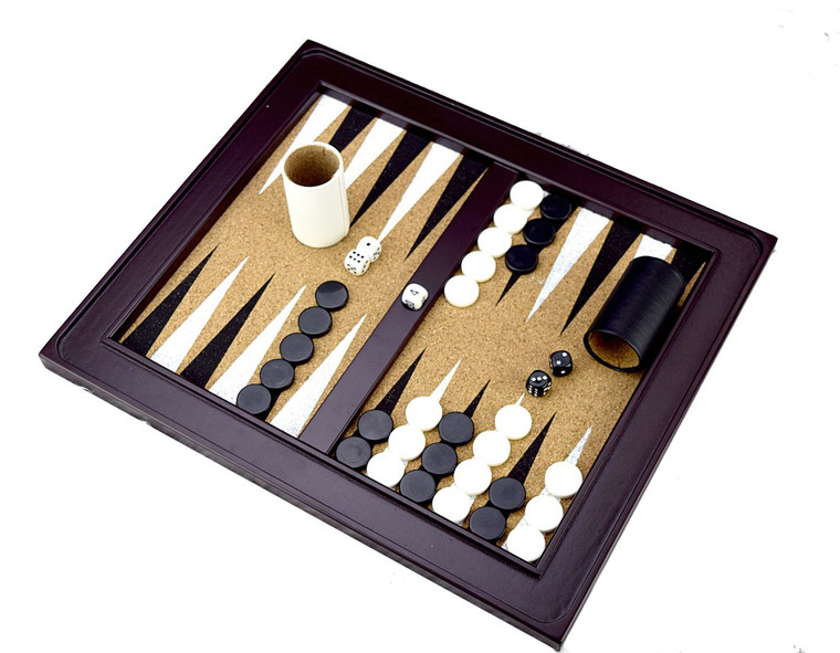 WOOD BACKGAMMON WITH CORK PLAYING FIELD