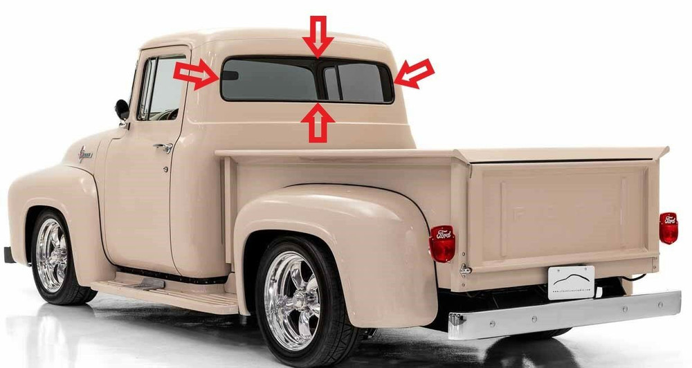 1956 FORD F SERIES PICK UP  REAR GLASS SEAL  BLACK  1 PIECE