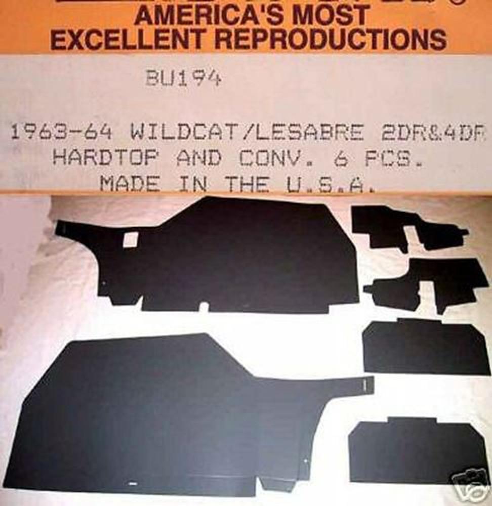 1963-1964 BUICK WILDCAT & LESABRE 2 & 4 DOOR HARDTOP TRUNK BOARD KIT, 6 PIECES