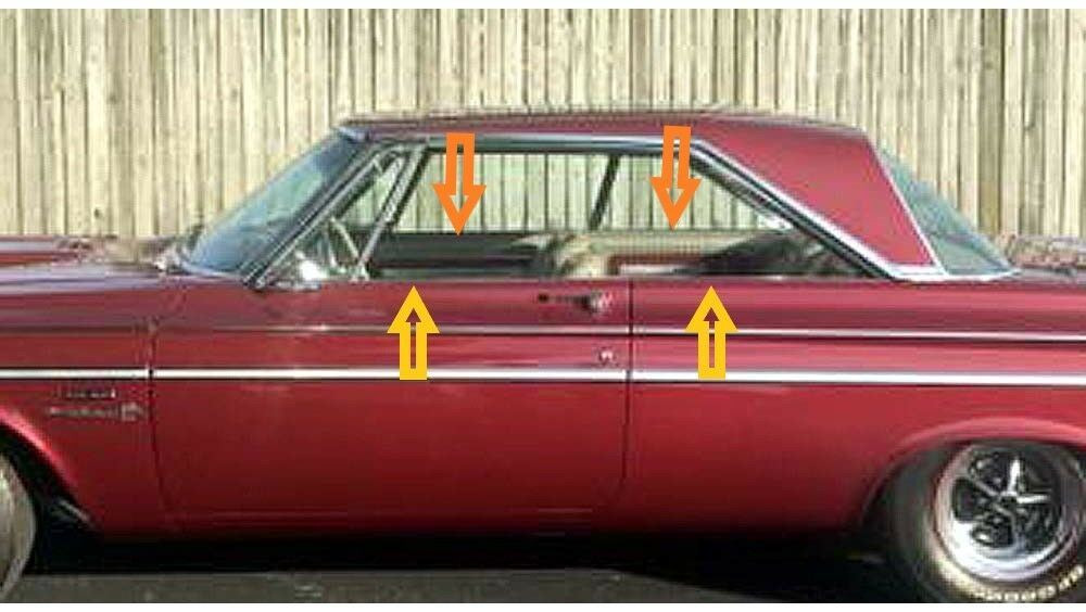1964-1965 Mopar 'B' Body coupe window weatherstrip kit, 8pcs
