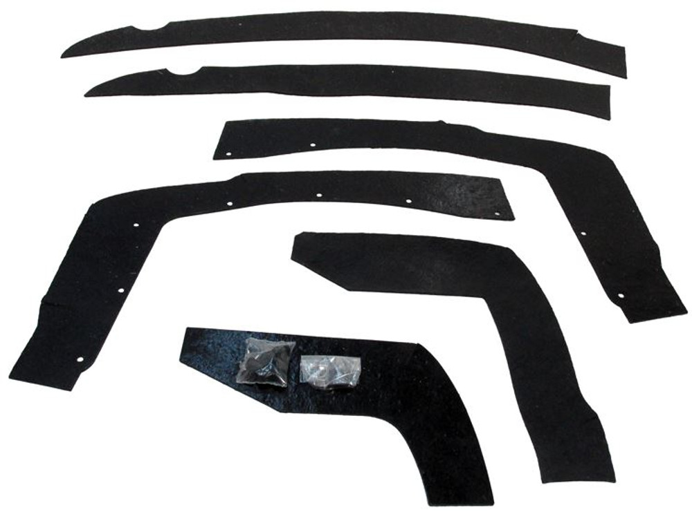 1966-1967 FORD FAIRLANE FRONT FENDER SPLASH SHIELD KIT, 6 PIECES