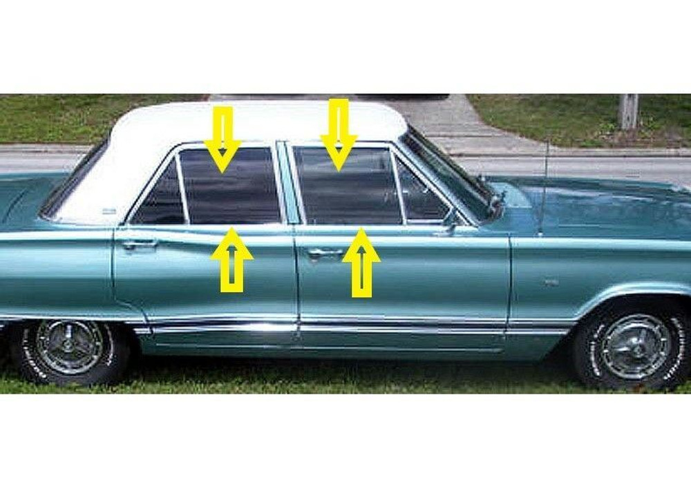 1966-1970 Mopar 'B' body 4 door sedan window weatherstrip kit, (8 pieces)