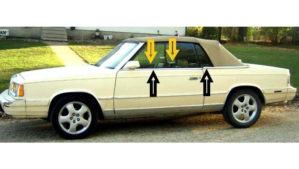 1982-1986 Chrysler LeBaron convertible window weatherstrip kit, 8pcs