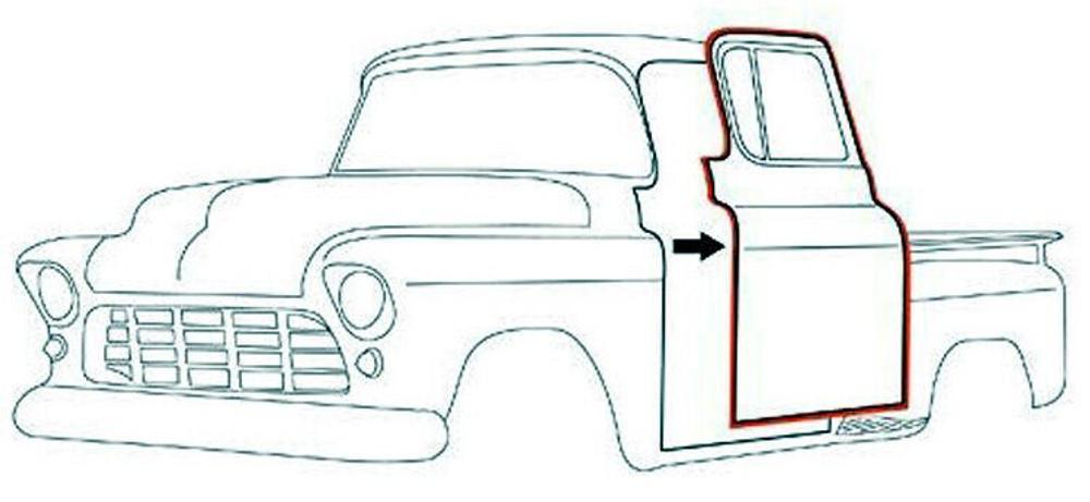 1955-1959 CHEVROLET/GMC TRUCK DOOR WEATHERSTRIP, PAIR w/CLIPS