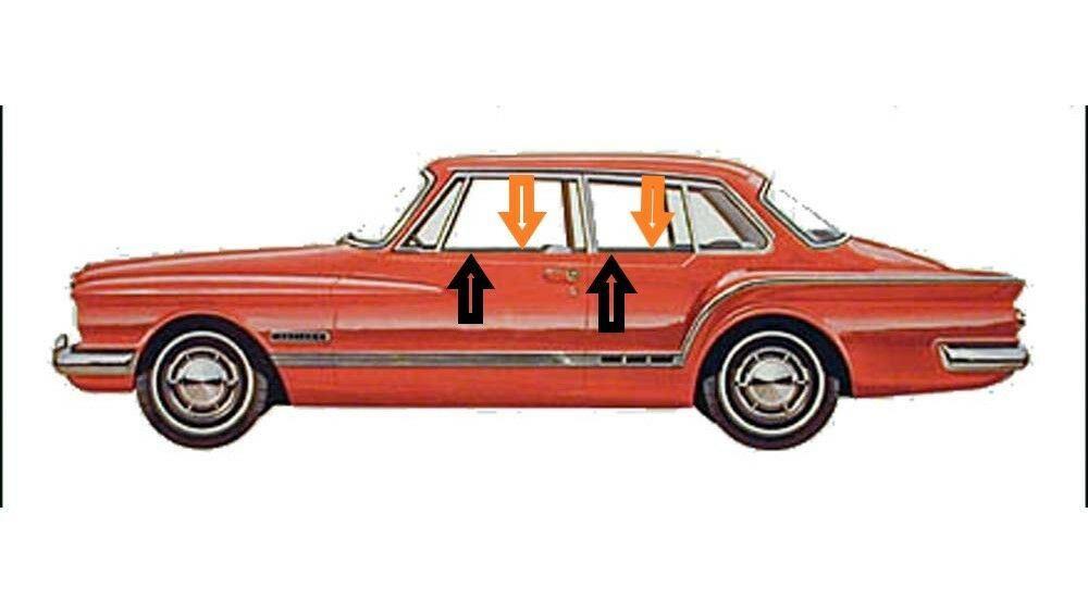 1962 Plymouth Valiant 2 door sedan window beltline weatherstrip kit, (8 pieces)