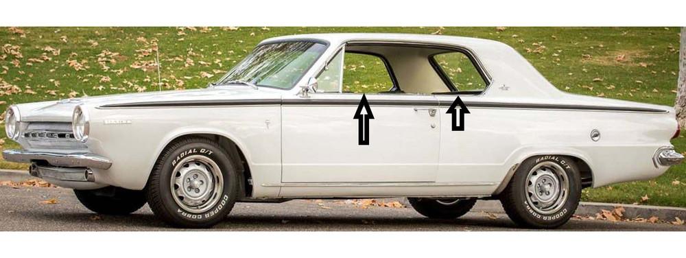 1963-1966 Dodge Dart 2 door sedan window weatherstrip kit, (8 pieces)