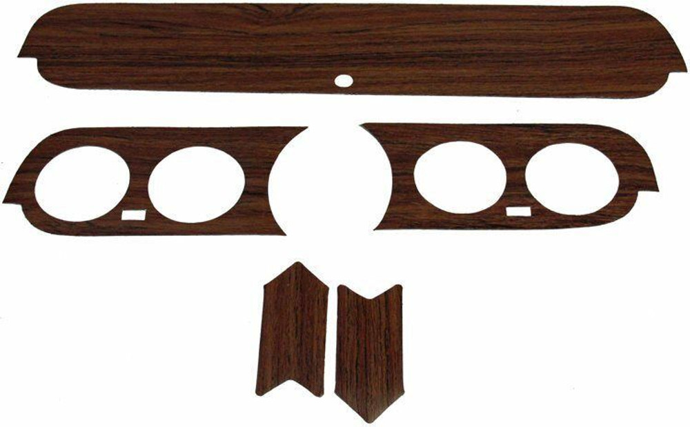 1965-1966 FORD MUSTANG PONY DASHBOARD WOODGRAIN KIT, VINYL, 5 PIECES