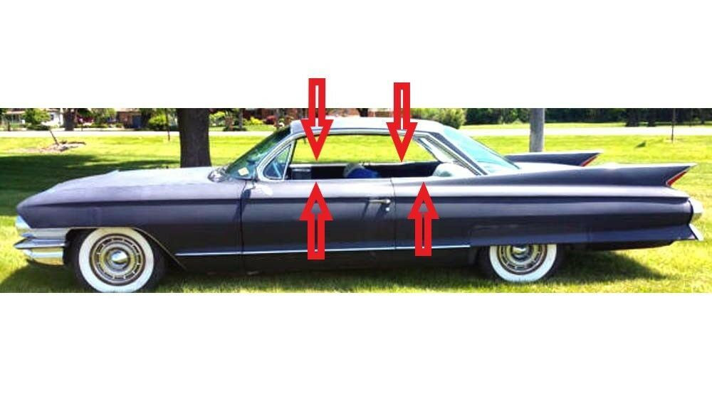 1959-60 Cadillac DeVille 2 door hardtop window weatherstrip kit, Outers Only 4pc