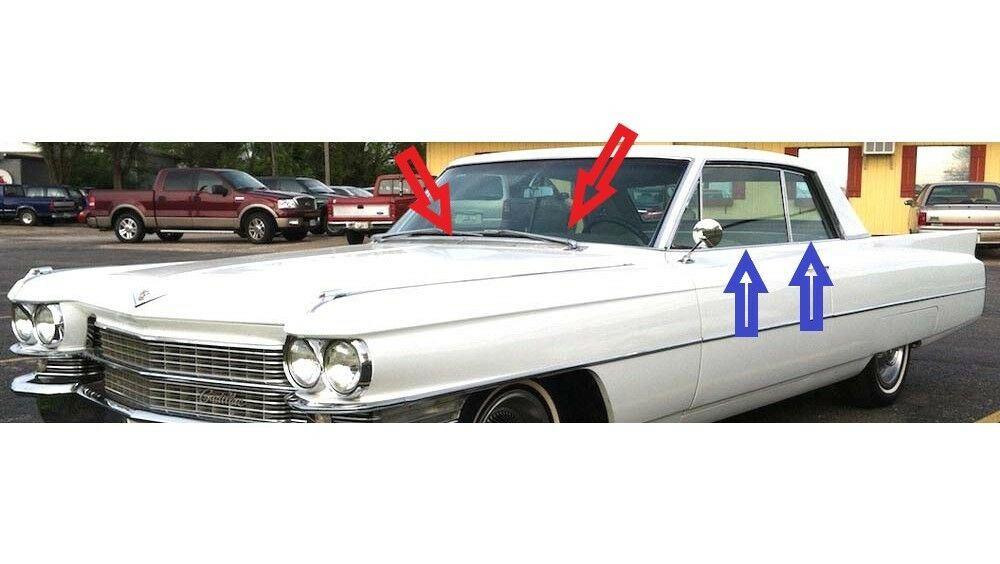 1963-1964 Cadillac 2 door hardtop window weatherstrip kit, 8 pcs.