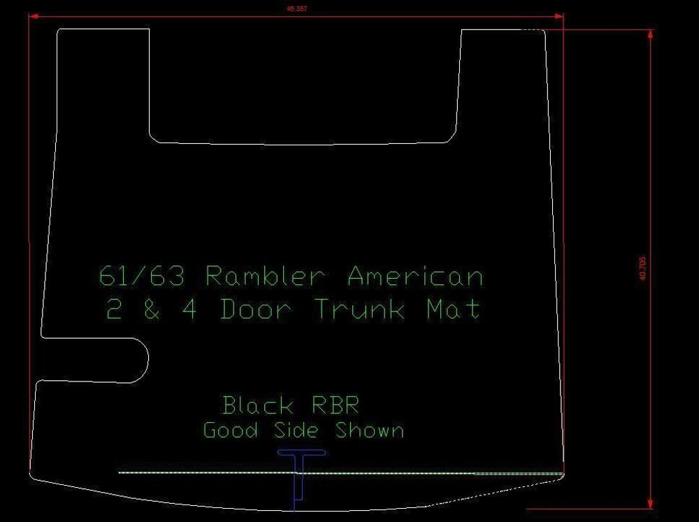 1961-1963 AMC AMERICAN 2 & 4 DOOR HARDTOP TRUNK MAT, BLACK RUBBER