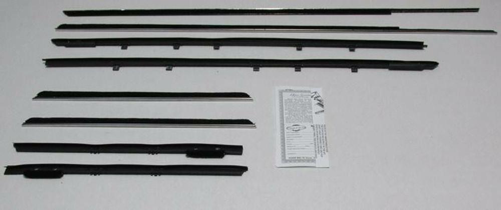 1974-1976 CADILLAC DEVILLE 2DR HARDTOP FIXED REAR WINDOW WEATHERSTRIP KIT, 8PCS.