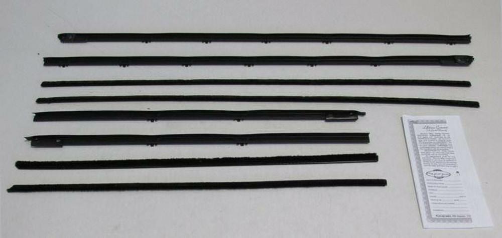 1965-1966 CADILLAC DEVILLE CONVERTIBLE BELTLINE WINDOW WEATHERSTRIP KIT, 8 PCS.