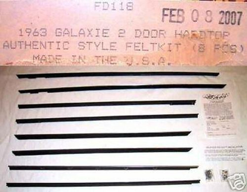 1963 GALAXIE 2dr HARDTOP WINDOW WEATHERSTRIP 8pc NEW