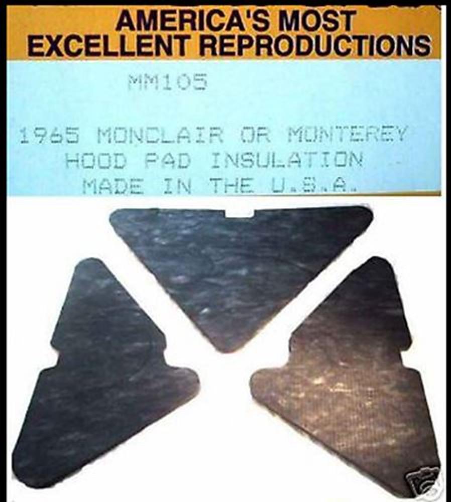 1965-1968 MERCURY  MONTEREY & MONTCLAIR   HOOD INSULATION KIT 3pc INCLUDES CLIPS