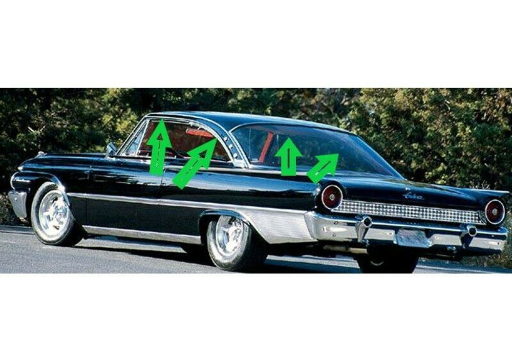 1960-1961 FORD STARLINER FASTBACK ROOF RAIL WEATHERSTRIP, PAIR