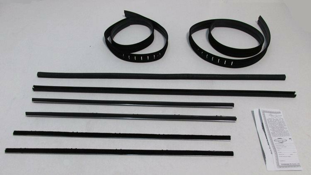 1967-1972 CHEVY TRUCK  WINDOW WEATHERSTRIP/CHROME BEAD SUPERKIT 8 PIECES