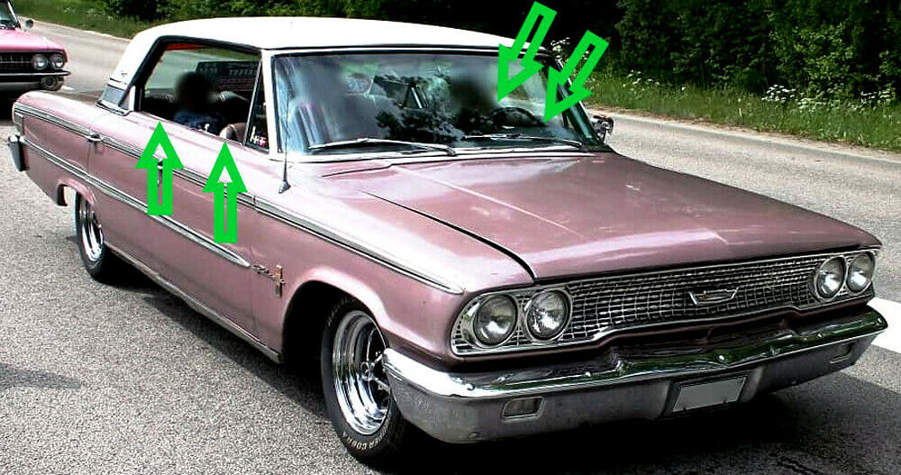 1964 GALAXIE 500 XL, CROWN VIC 4DR HARDTOP BELTLINE WINDOW WEATHERSTRIP KIT 8 PC