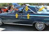 1965 Dodge Coronet 500 2 door hardtop window weatherstrip kit, 8pcs