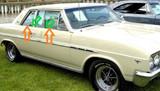 1965 Buick Skylark 2 door sedan window weatherstrip kit w/chrome bead, 8 pcs.