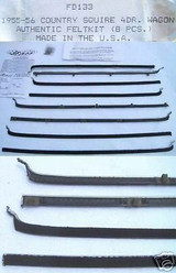 1955 - 1956 FORD COUNTRY SQUIRE STATION WAGON WINDOW WEATHERSTRIP KIT 8 PIECES