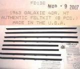 1963 GALAXIE 4 DOOR HARDTOP WINDOW WEATHERSTRIP 8 PIECES